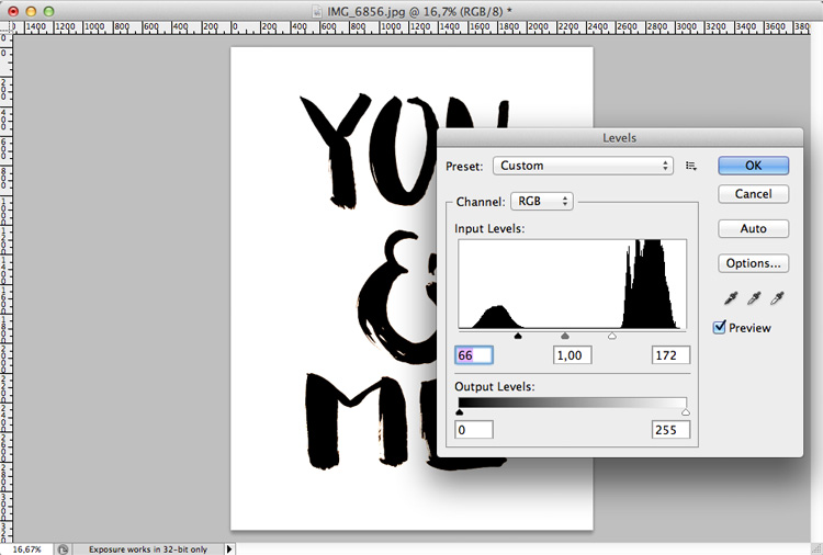 Brush Lettering Photoshop Tonwerte
