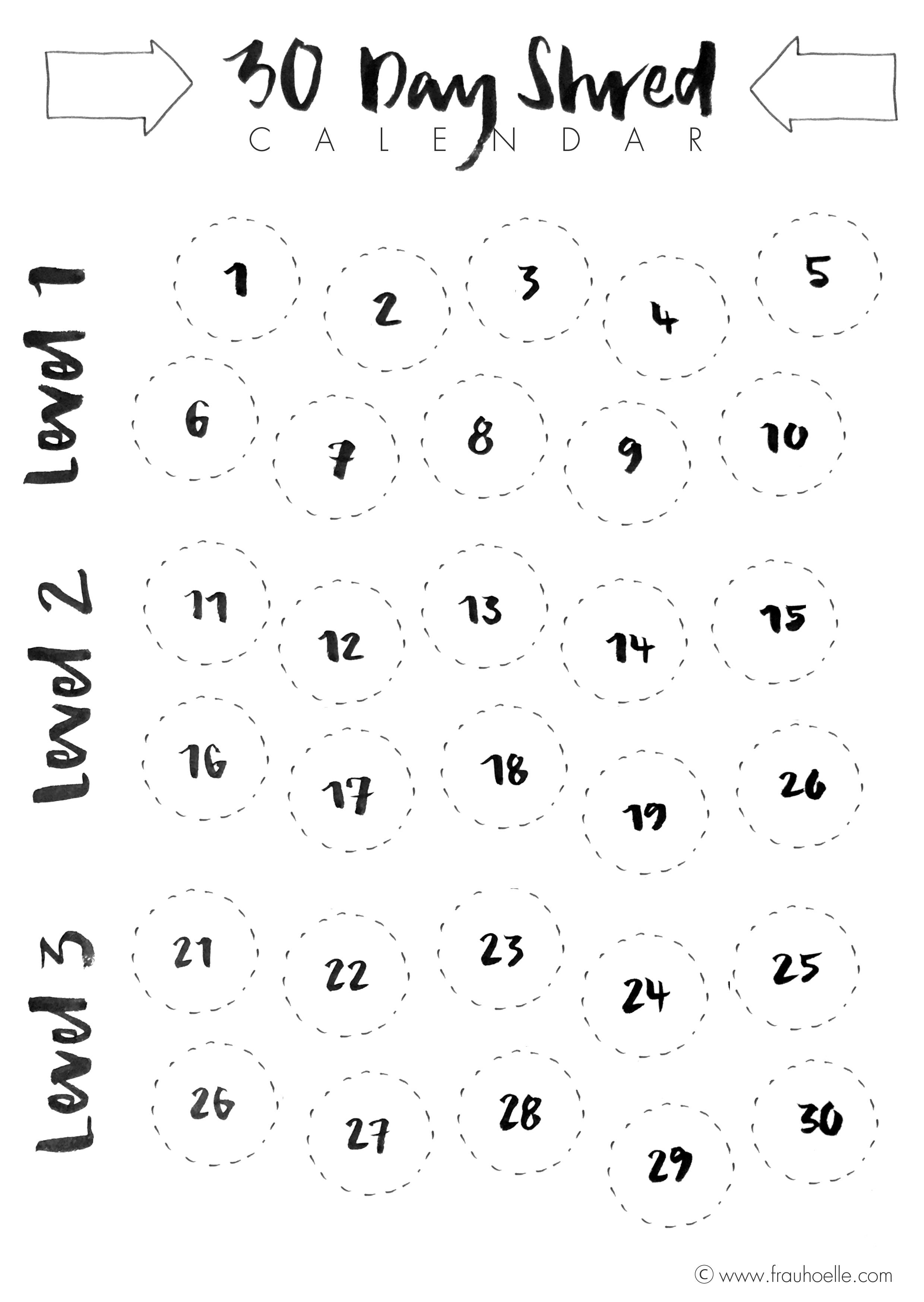 weg mit dem speck die 30 tage shred challenge mit brush lettering trainingskalender freebie. Black Bedroom Furniture Sets. Home Design Ideas