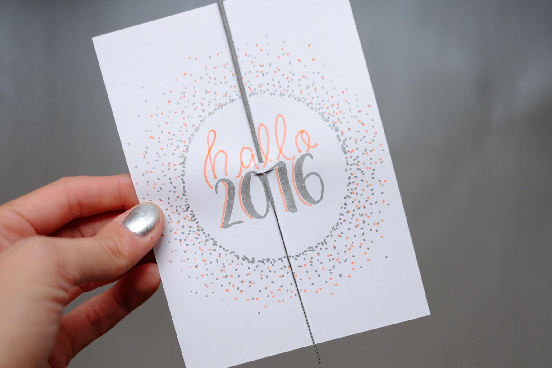 Brush Lettering Neujahrskarte
