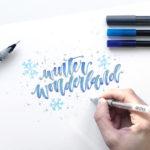 #letterattackinspiration – Brush Lettering mit Glitzer-Verlauf