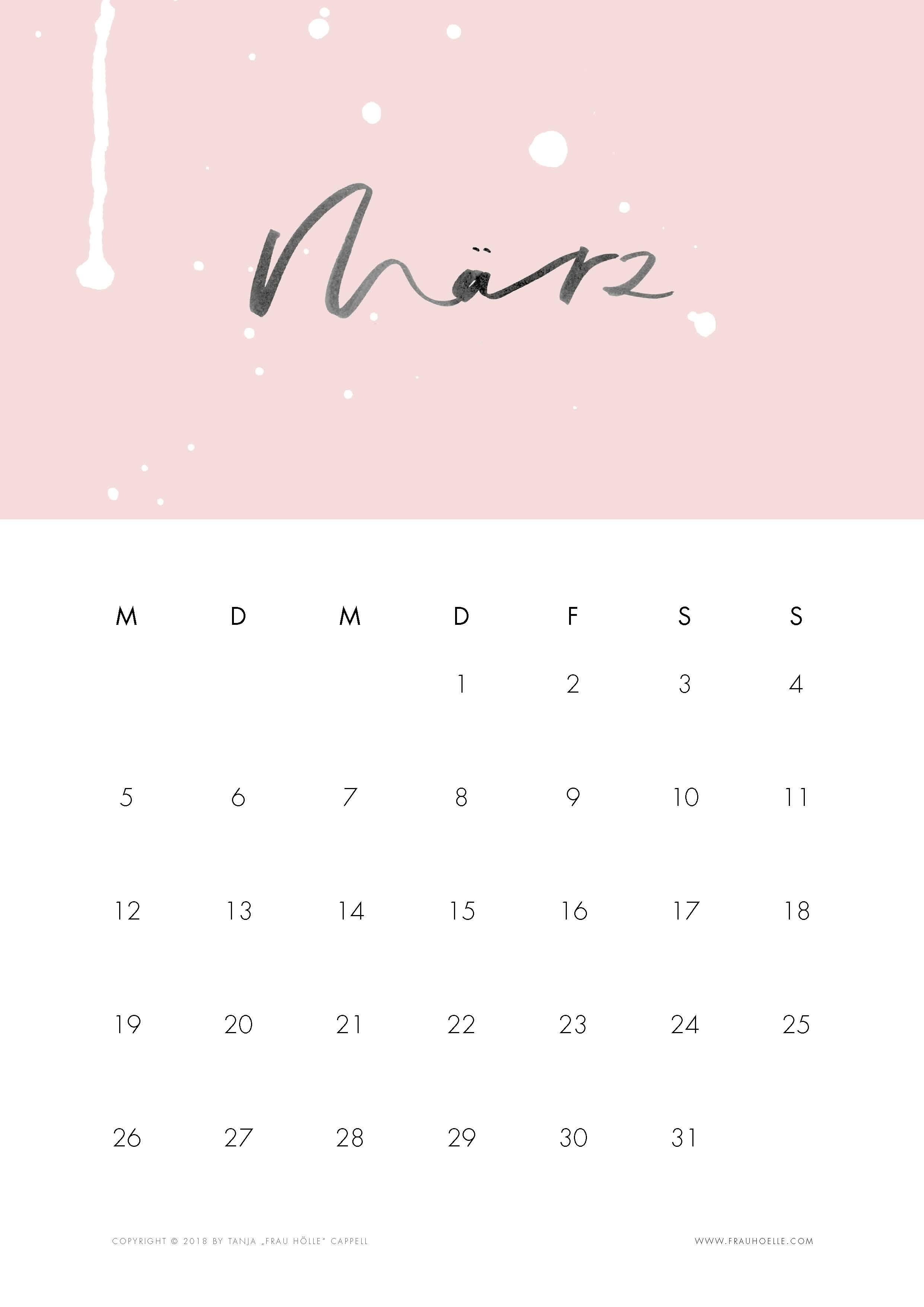 lettering kalender 2018 tropfen printable frau h lle. Black Bedroom Furniture Sets. Home Design Ideas