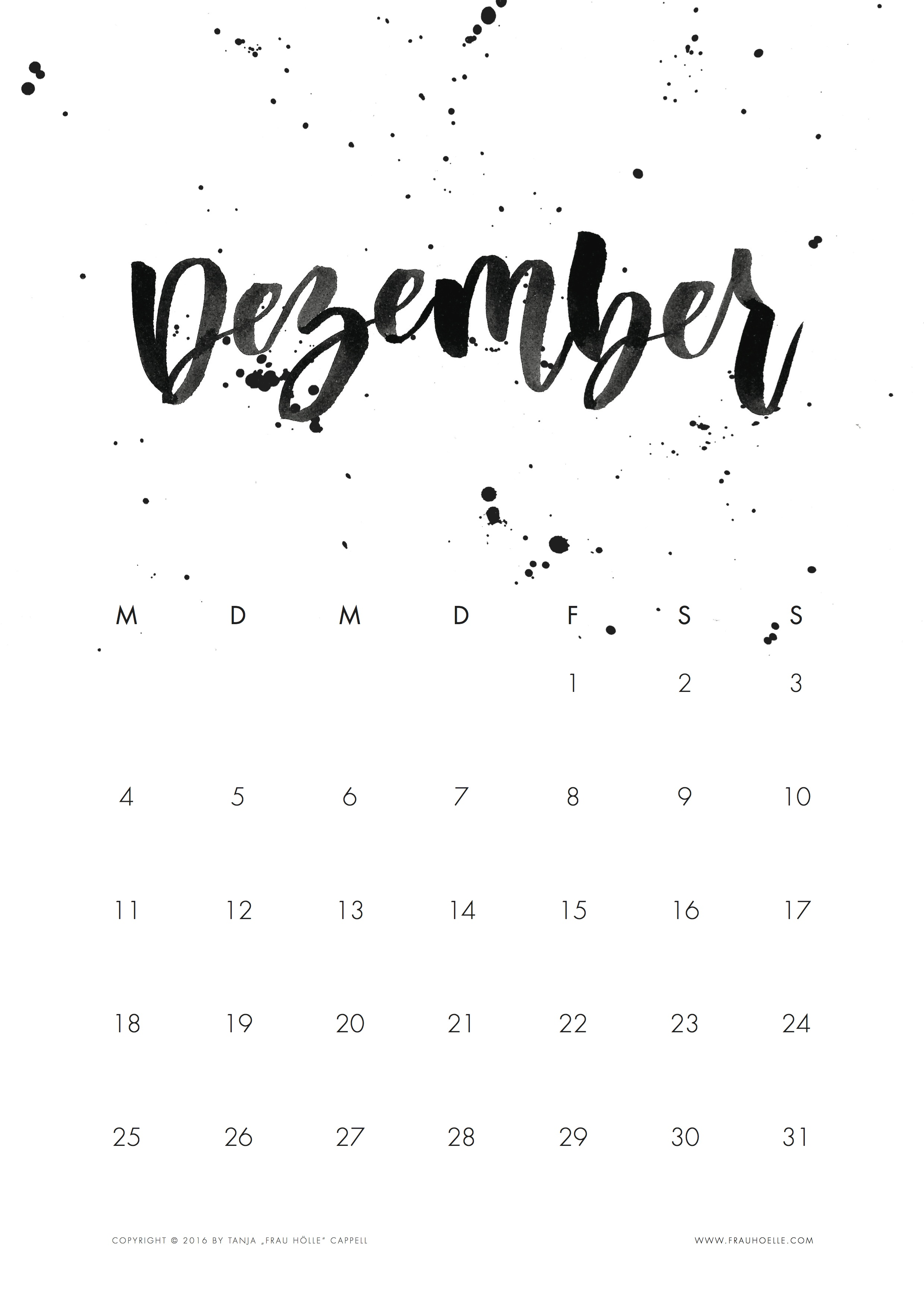 brush lettering kalender 2017 printable frau h lle studio. Black Bedroom Furniture Sets. Home Design Ideas